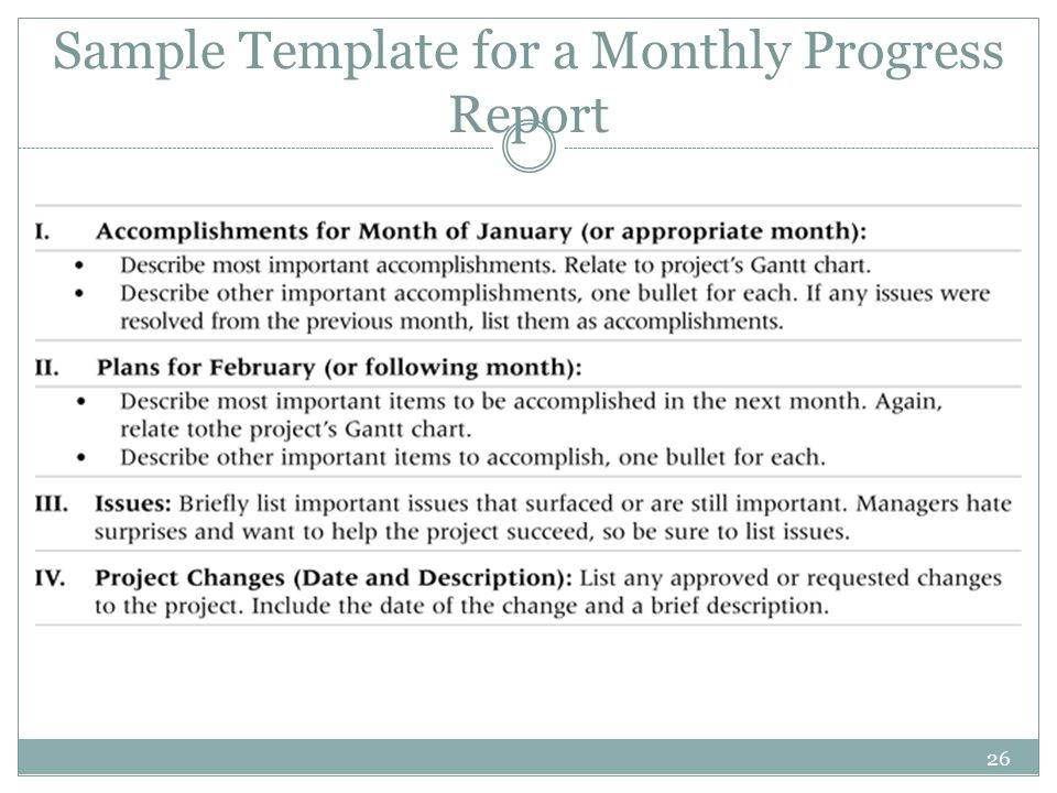 Sample Template for a Monthly Progress Report