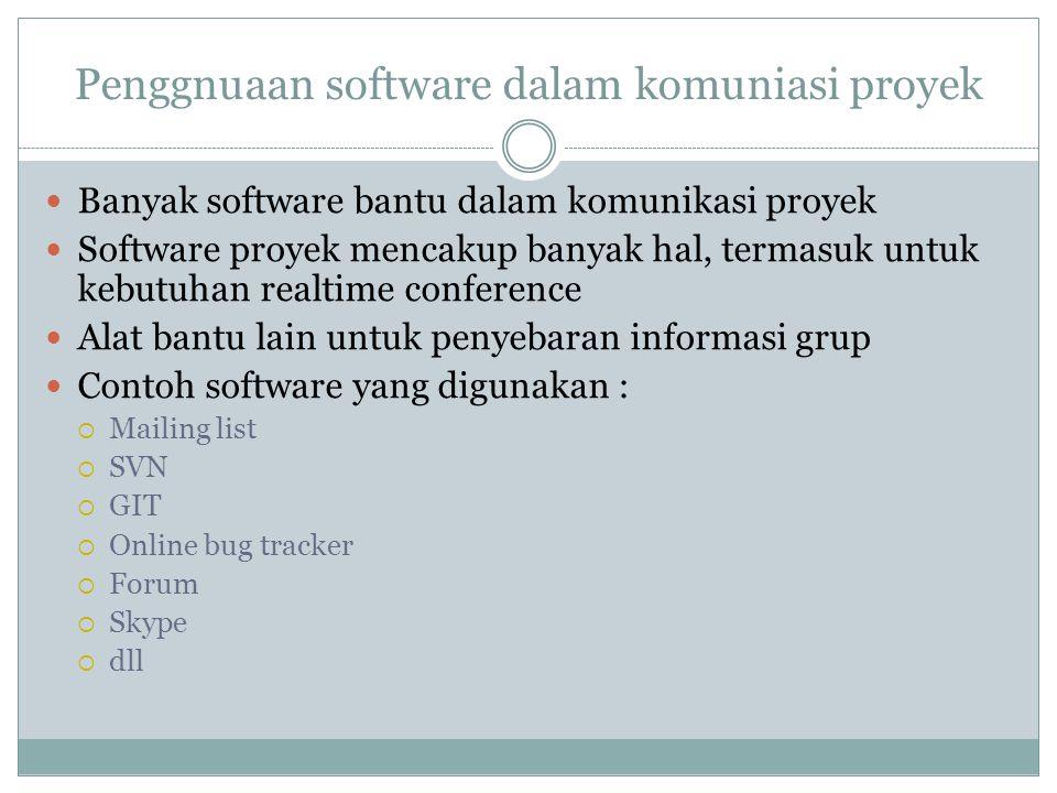 Penggnuaan software dalam komuniasi proyek