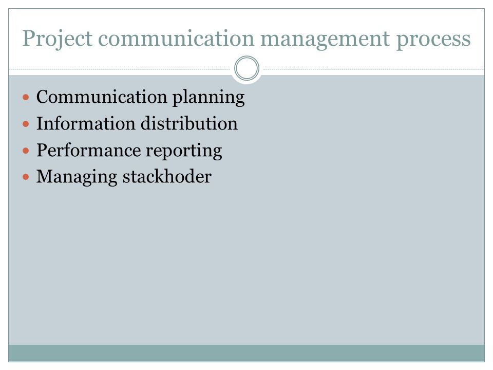 Project communication management process