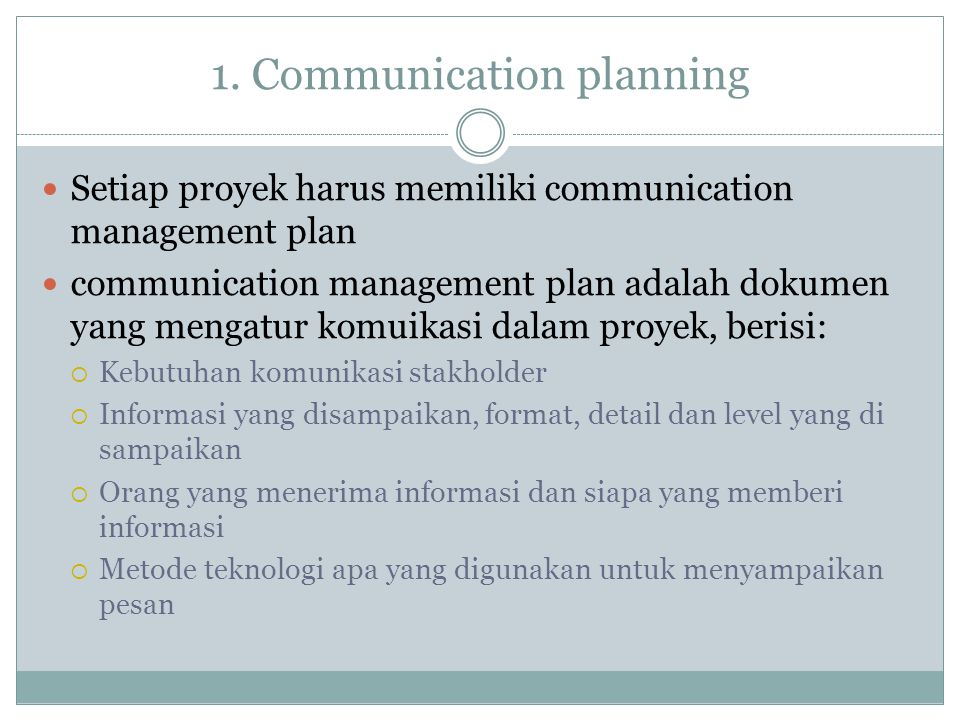 1. Communication planning