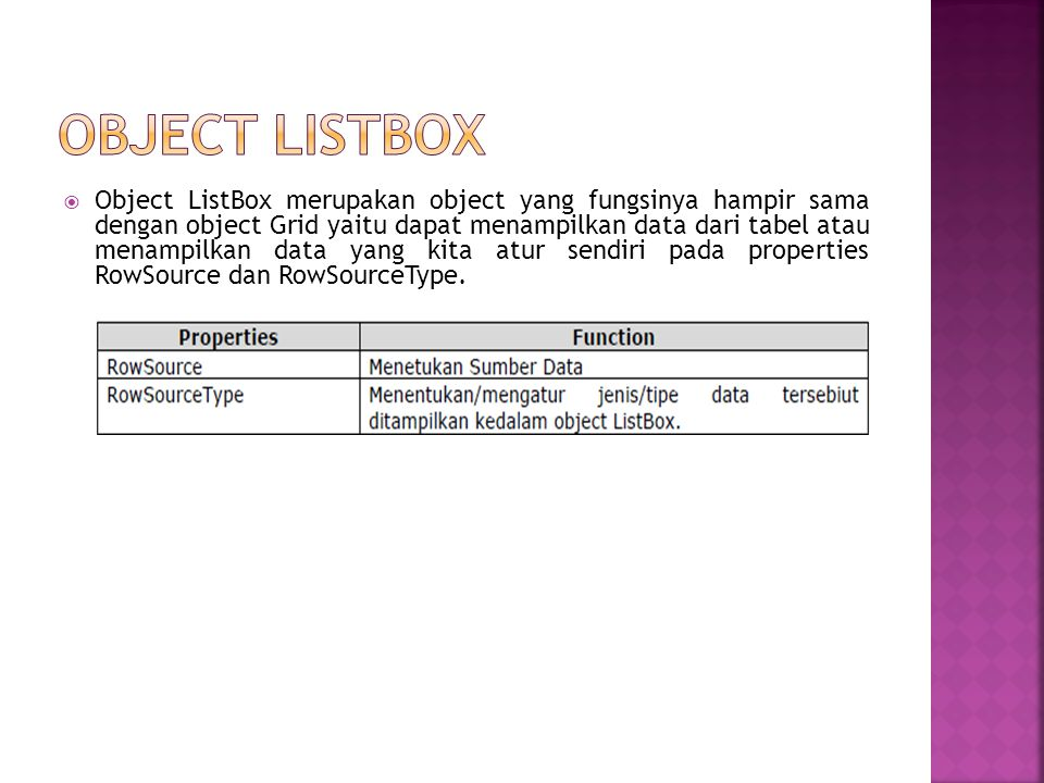 OBJECT LISTBOX