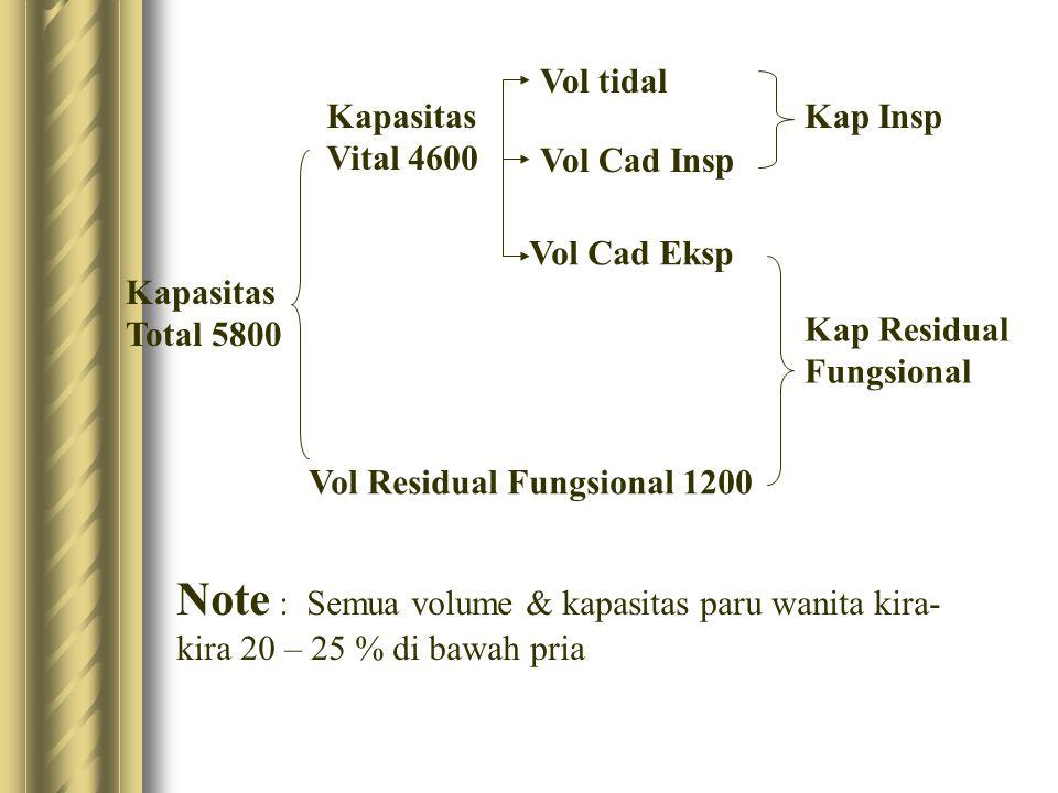 Vol tidal Kapasitas Vital 4600. Kap Insp. Vol Cad Insp. Vol Cad Eksp. Kapasitas Total 5800. Kap Residual Fungsional.