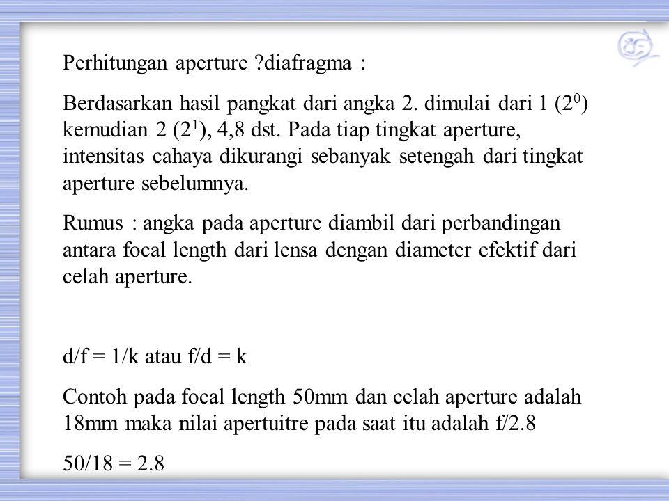 Perhitungan aperture diafragma :