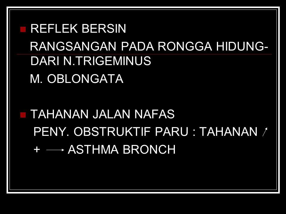 REFLEK BERSIN RANGSANGAN PADA RONGGA HIDUNG-DARI N.TRIGEMINUS. M. OBLONGATA. TAHANAN JALAN NAFAS.