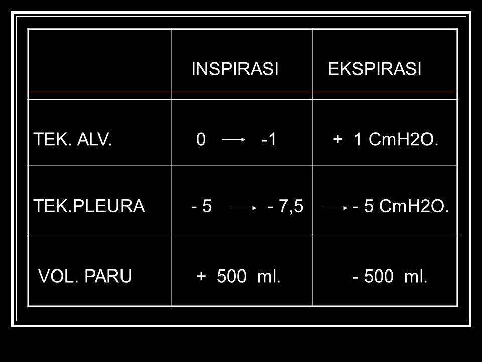 INSPIRASI EKSPIRASI. TEK. ALV. 0 -1. + 1 CmH2O. TEK.PLEURA. - 5 - 7,5. - 5 CmH2O.