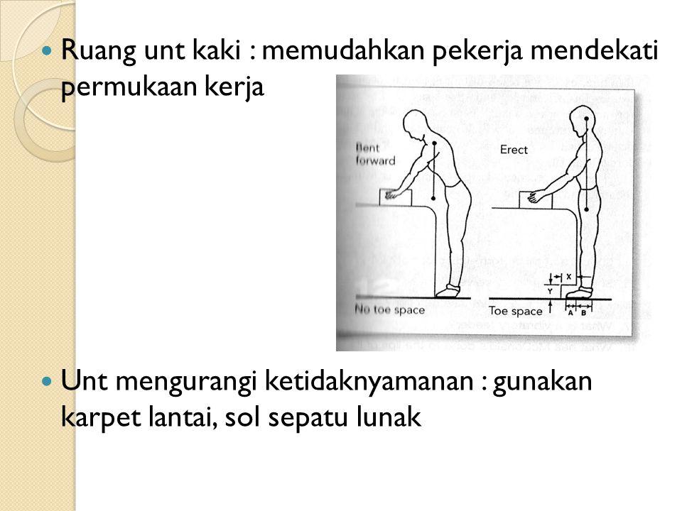 Ruang unt kaki : memudahkan pekerja mendekati permukaan kerja