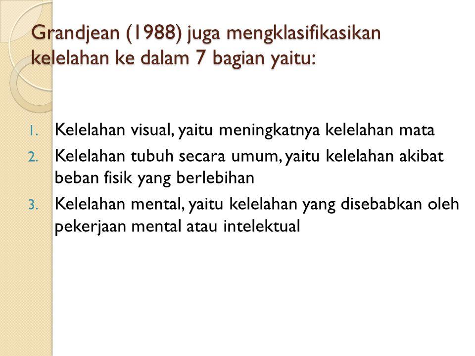Grandjean (1988) juga mengklasifikasikan kelelahan ke dalam 7 bagian yaitu: