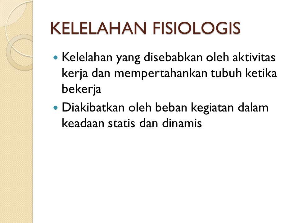 KELELAHAN FISIOLOGIS Kelelahan yang disebabkan oleh aktivitas kerja dan mempertahankan tubuh ketika bekerja.