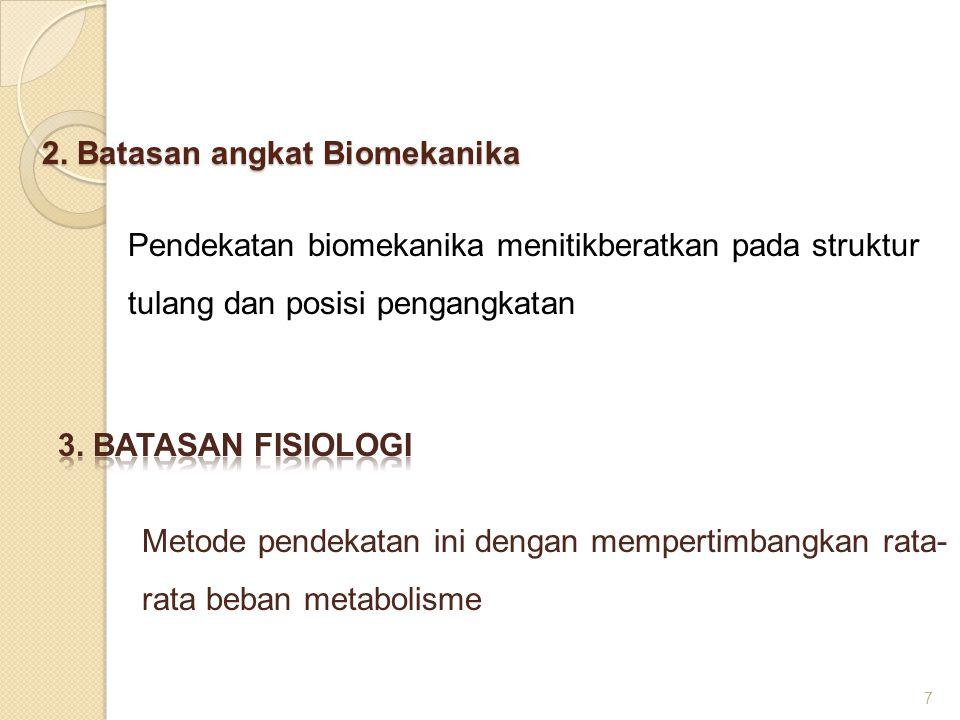 2. Batasan angkat Biomekanika