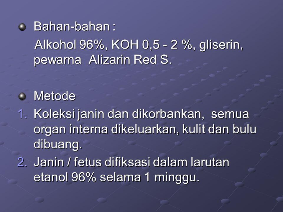 Bahan-bahan : Alkohol 96%, KOH 0,5 - 2 %, gliserin, pewarna Alizarin Red S. Metode.