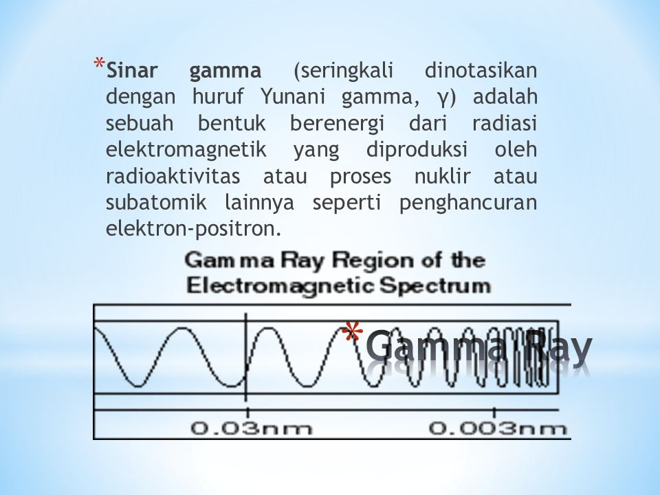 Sinar gamma (seringkali dinotasikan dengan huruf Yunani gamma, γ) adalah sebuah bentuk berenergi dari radiasi elektromagnetik yang diproduksi oleh radioaktivitas atau proses nuklir atau subatomik lainnya seperti penghancuran elektron-positron.