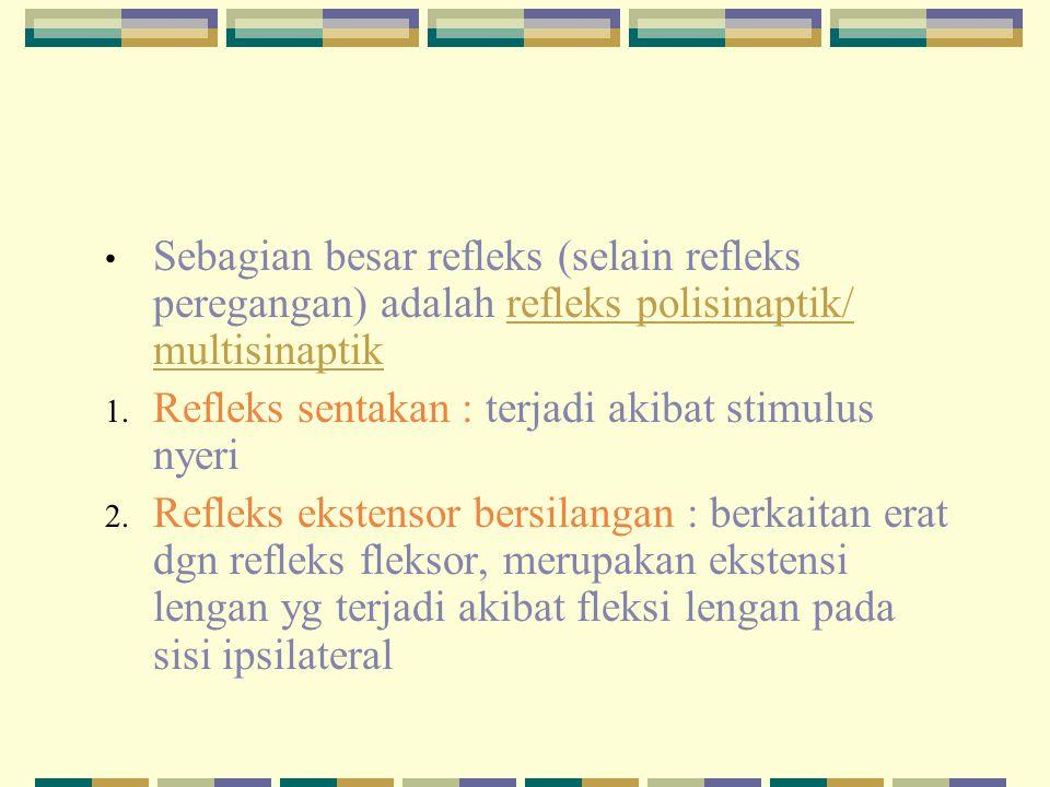 Sebagian besar refleks (selain refleks peregangan) adalah refleks polisinaptik/ multisinaptik