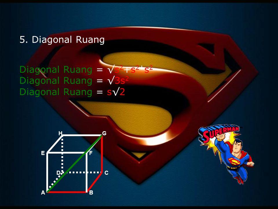 Diagonal Ruang = √s2+s2+s2 Diagonal Ruang = √3s2 Diagonal Ruang = s√2