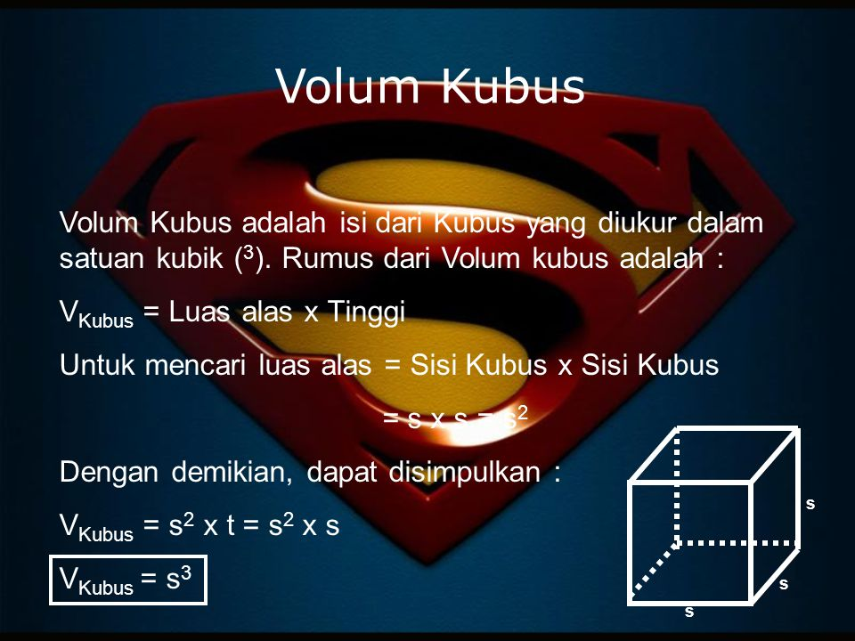 Volum Kubus Volum Kubus adalah isi dari Kubus yang diukur dalam satuan kubik (3). Rumus dari Volum kubus adalah :