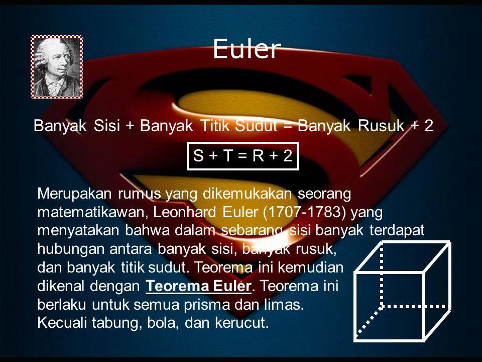 Euler Banyak Sisi + Banyak Titik Sudut = Banyak Rusuk + 2