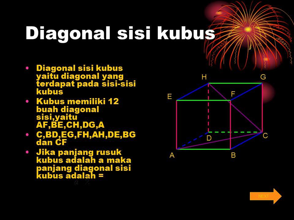 Diagonal sisi kubus Diagonal sisi kubus yaitu diagonal yang terdapat pada sisi-sisi kubus. Kubus memiliki 12 buah diagonal sisi,yaitu AF,BE,CH,DG,A.