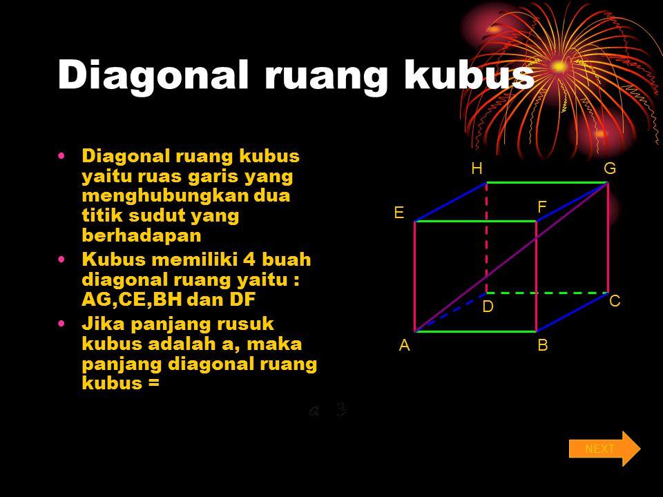 Diagonal ruang kubus Diagonal ruang kubus yaitu ruas garis yang menghubungkan dua titik sudut yang berhadapan.