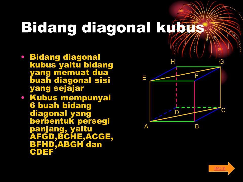 Bidang diagonal kubus Bidang diagonal kubus yaitu bidang yang memuat dua buah diagonal sisi yang sejajar.