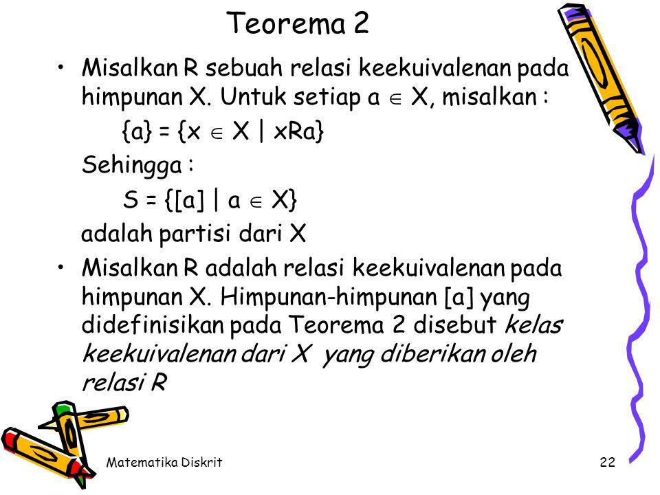 Contoh S = {{1,3,5},{2,6},{4}} X = {1,2,3,4,5,6}