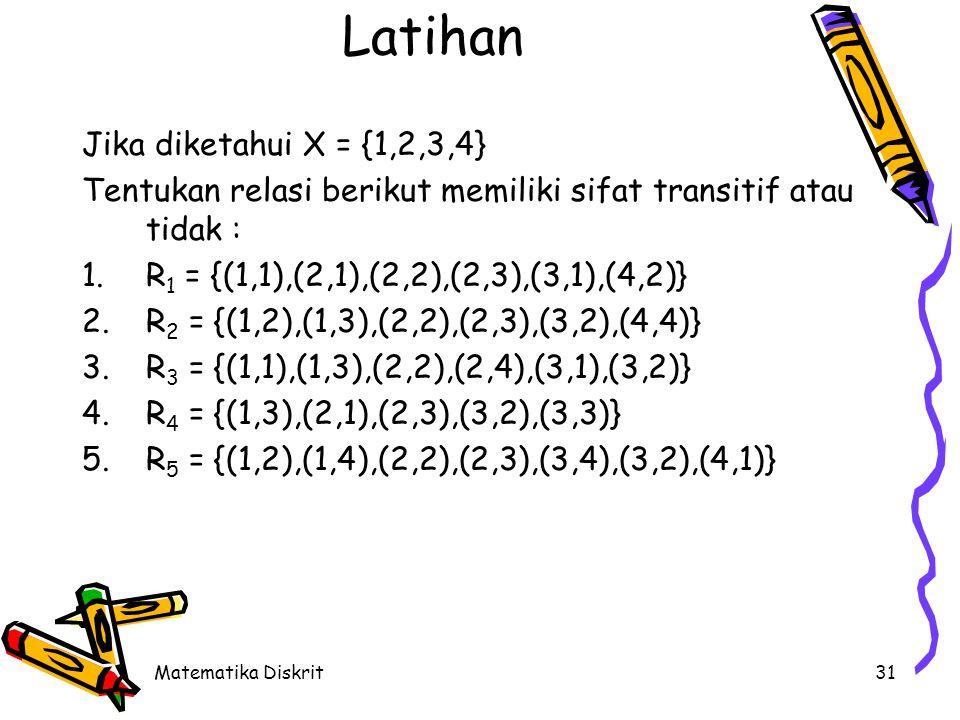 Latihan Jika A = {0, 1, 2, 3} R = {(0,1), (1,1), (1,2),(2,0), (2,2)}