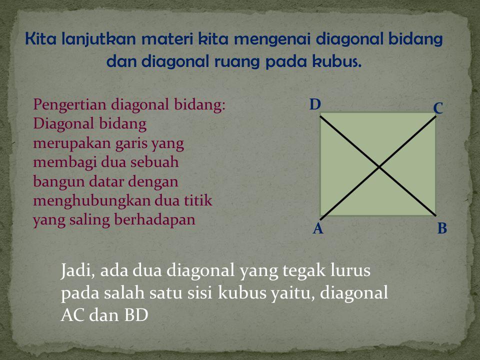 Kita lanjutkan materi kita mengenai diagonal bidang dan diagonal ruang pada kubus.