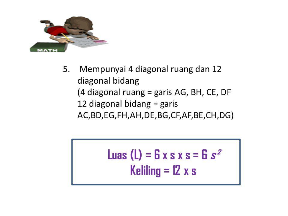Luas (L) = 6 x s x s = 6 s² Keliling = 12 x s