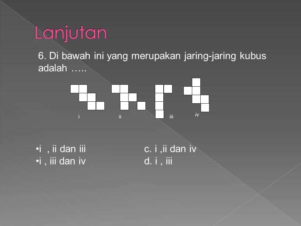 Lanjutan 6. Di bawah ini yang merupakan jaring-jaring kubus adalah …..