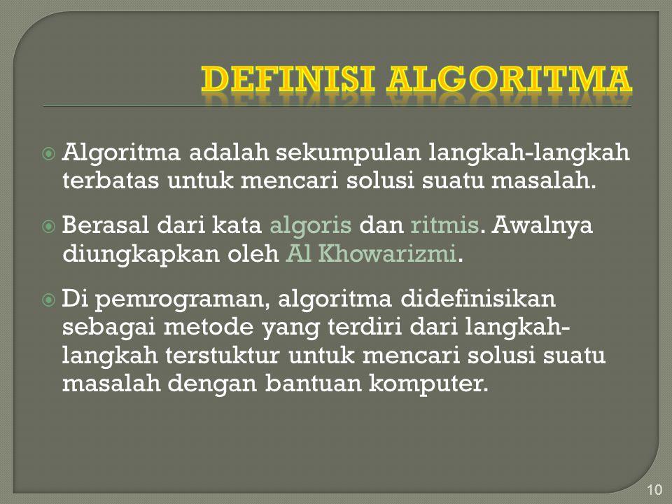 Definisi Algoritma Algoritma adalah sekumpulan langkah-langkah terbatas untuk mencari solusi suatu masalah.