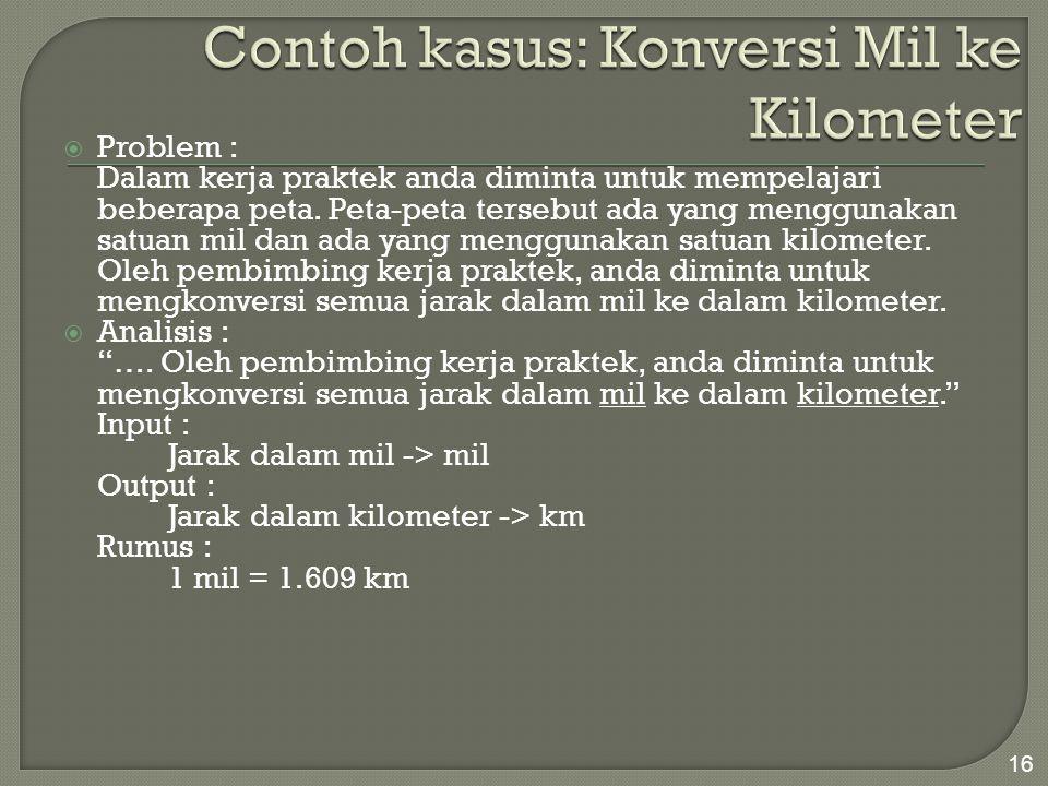 Contoh kasus: Konversi Mil ke Kilometer