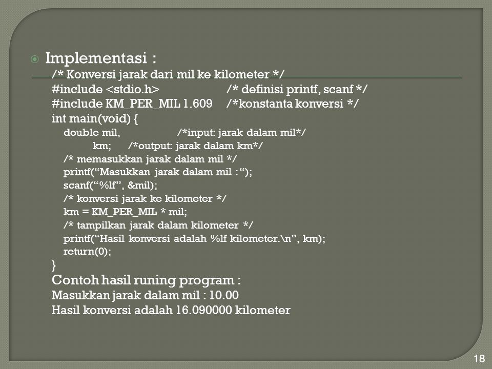Implementasi : Contoh hasil runing program :