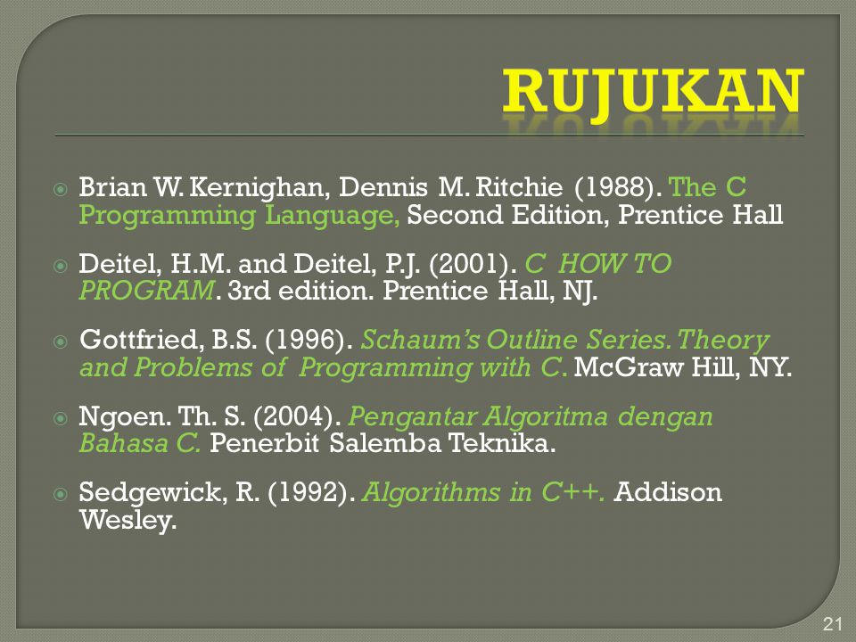 Rujukan Brian W. Kernighan, Dennis M. Ritchie (1988). The C Programming Language, Second Edition, Prentice Hall.