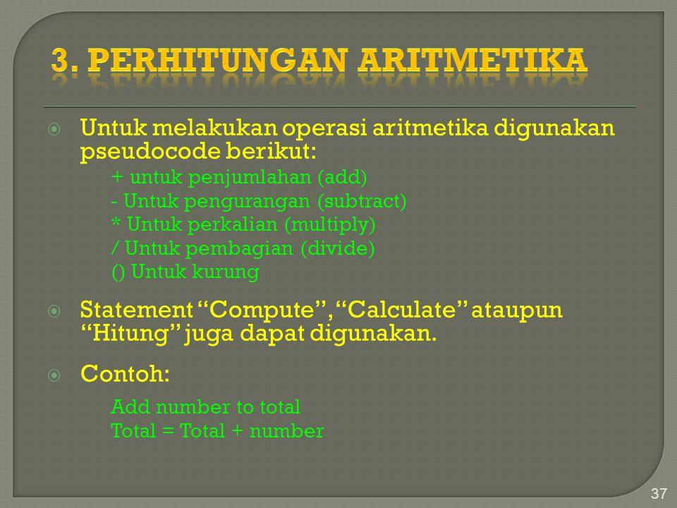 3. perhitungan Aritmetika