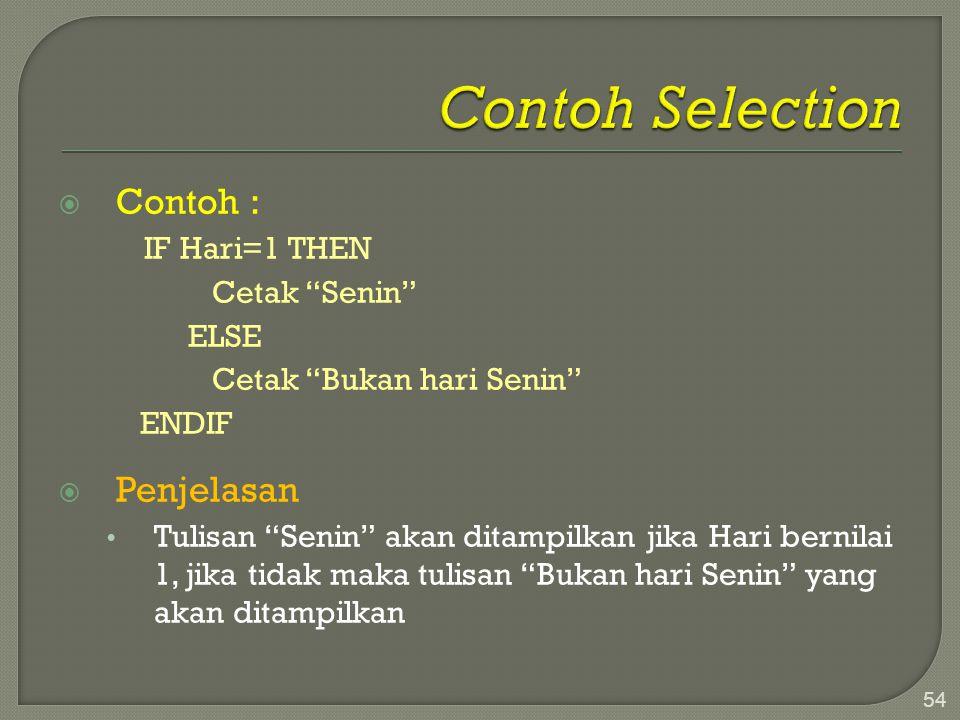 Contoh Selection Contoh : Penjelasan IF Hari=1 THEN Cetak Senin ELSE