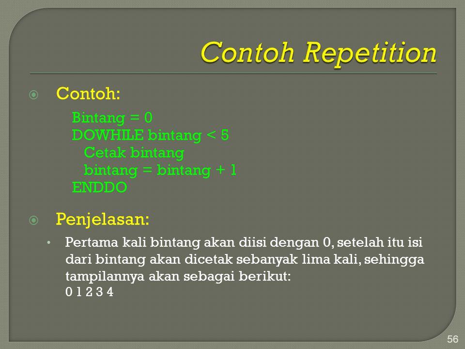 Contoh Repetition Contoh: Penjelasan: Bintang = 0