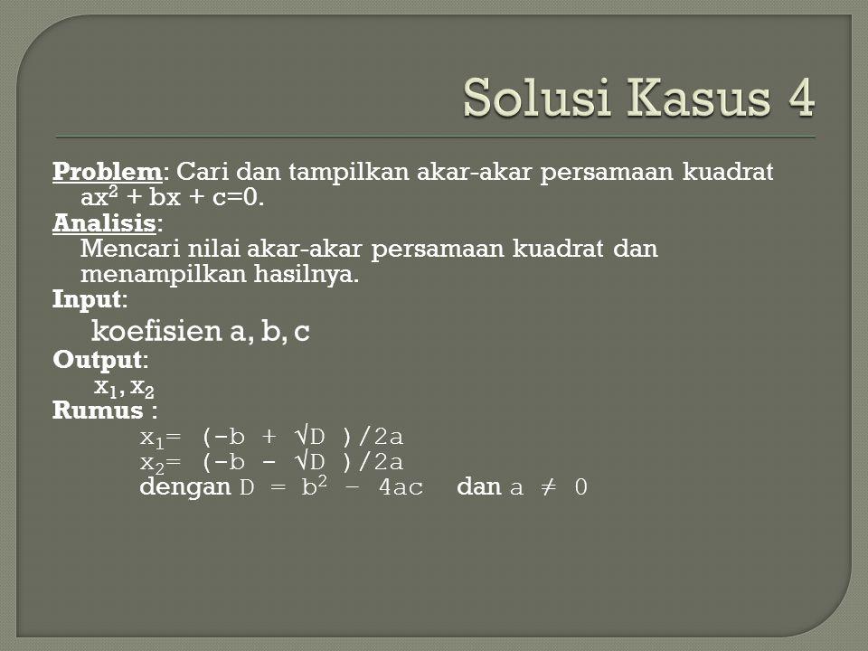 Solusi Kasus 4 koefisien a, b, c
