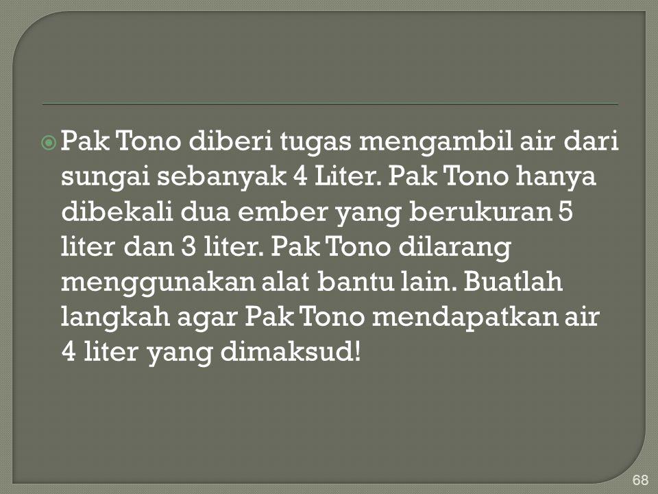 Pak Tono diberi tugas mengambil air dari sungai sebanyak 4 Liter