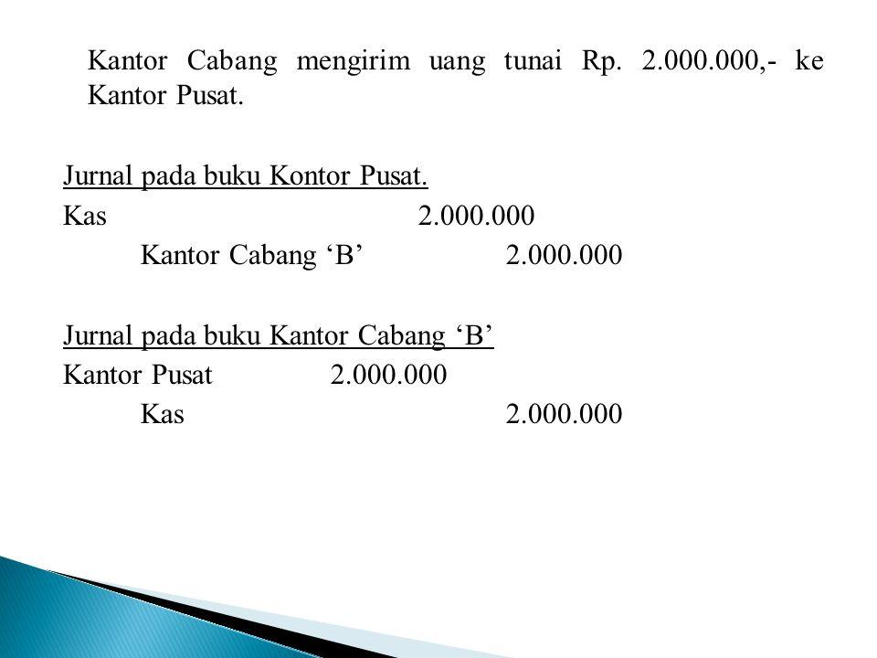 Kantor Cabang mengirim uang tunai Rp. 2. 000. 000,- ke Kantor Pusat