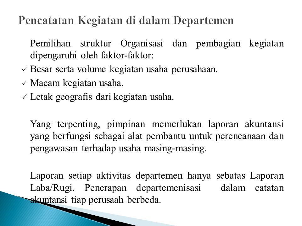 Pencatatan Kegiatan di dalam Departemen