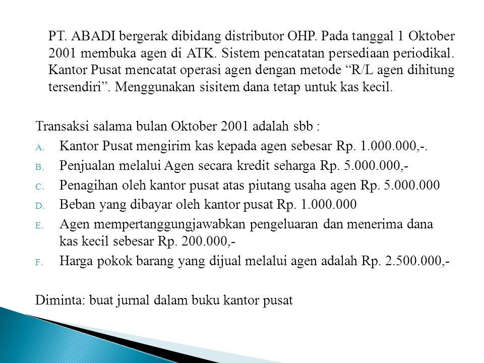 PT. ABADI bergerak dibidang distributor OHP