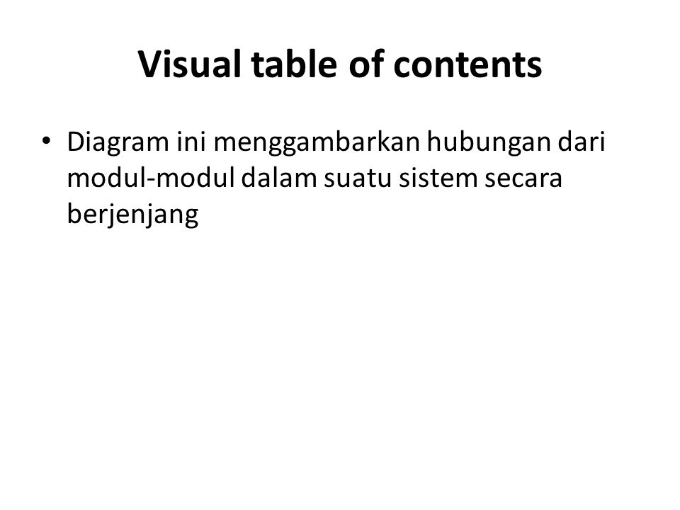 Visual table of contents