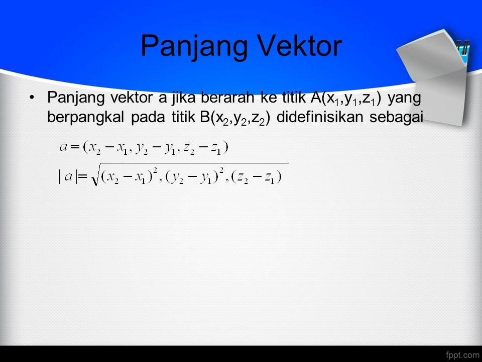 Panjang Vektor Panjang vektor a jika berarah ke titik A(x1,y1,z1) yang berpangkal pada titik B(x2,y2,z2) didefinisikan sebagai.