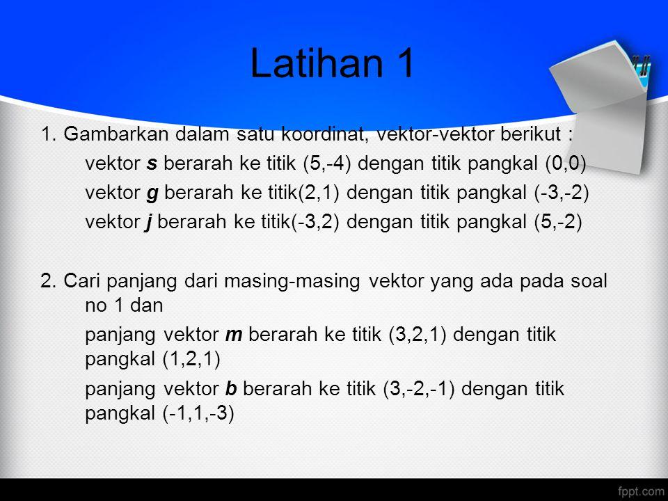 Latihan 1 1. Gambarkan dalam satu koordinat, vektor-vektor berikut :