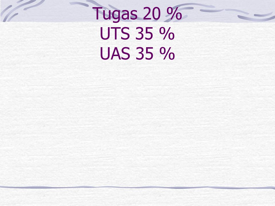 Kontrak Kuliah Kuiz 10 % Tugas 20 % UTS 35 % UAS 35 %