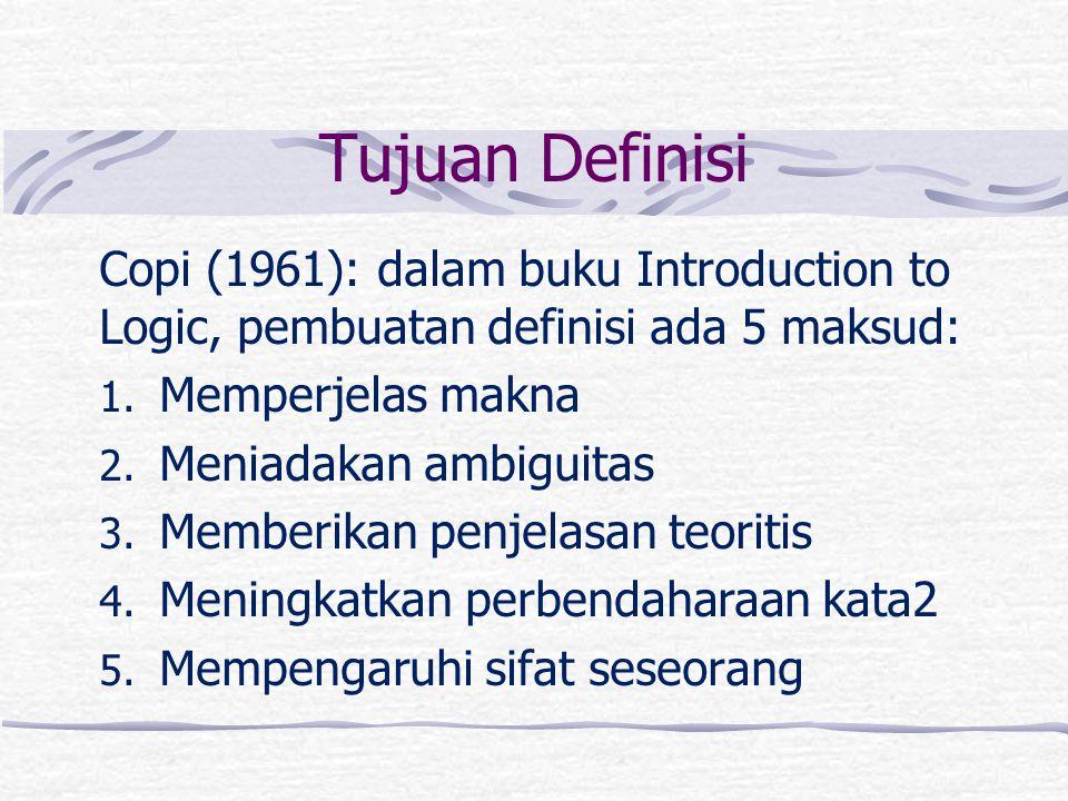 Tujuan Definisi Copi (1961): dalam buku Introduction to Logic, pembuatan definisi ada 5 maksud: Memperjelas makna.