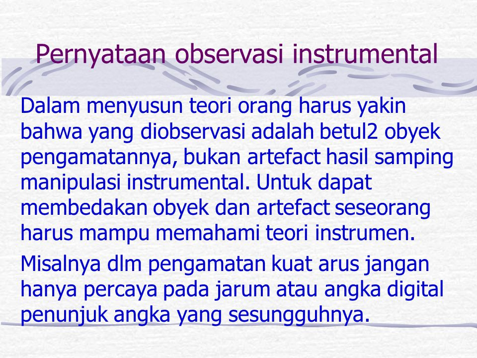 Pernyataan observasi instrumental