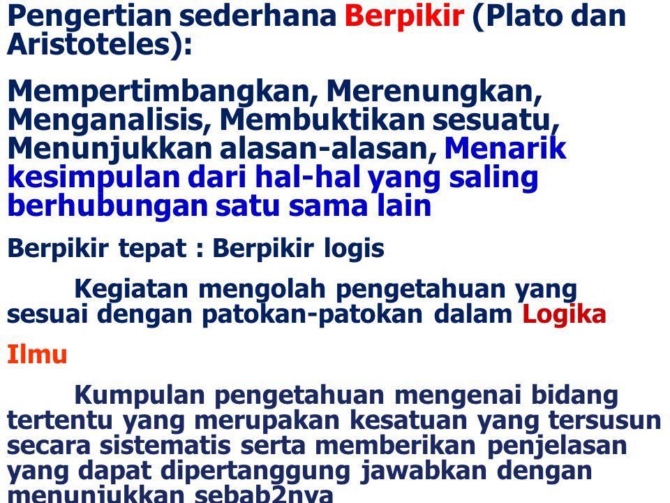 Pengertian sederhana Berpikir (Plato dan Aristoteles):