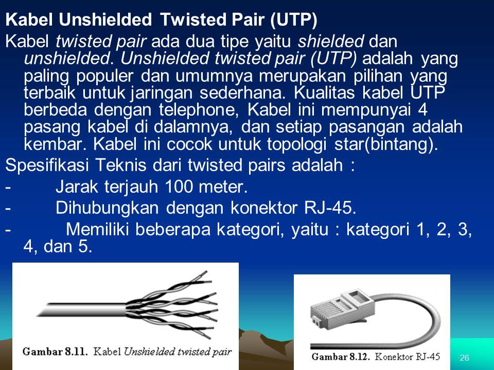 Kabel Unshielded Twisted Pair (UTP) Kabel twisted pair ada dua tipe yaitu shielded dan unshielded. Unshielded twisted pair (UTP) adalah yang paling populer dan umumnya merupakan pilihan yang terbaik untuk jaringan sederhana. Kualitas kabel UTP berbeda dengan telephone, Kabel ini mempunyai 4 pasang kabel di dalamnya, dan setiap pasangan adalah kembar. Kabel ini cocok untuk topologi star(bintang). Spesifikasi Teknis dari twisted pairs adalah : - Jarak terjauh 100 meter. - Dihubungkan dengan konektor RJ-45. - Memiliki beberapa kategori, yaitu : kategori 1, 2, 3, 4, dan 5.