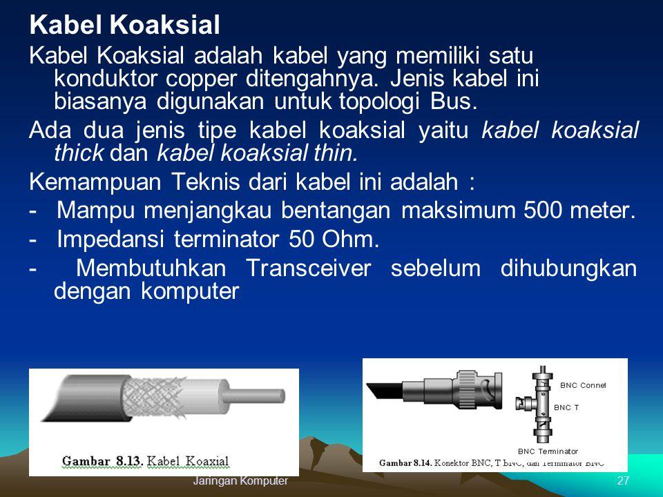 Kabel Koaksial Kabel Koaksial adalah kabel yang memiliki satu konduktor copper ditengahnya. Jenis kabel ini biasanya digunakan untuk topologi Bus.