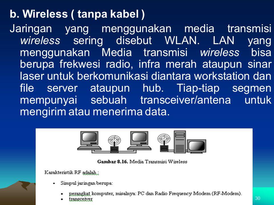 b. Wireless ( tanpa kabel )