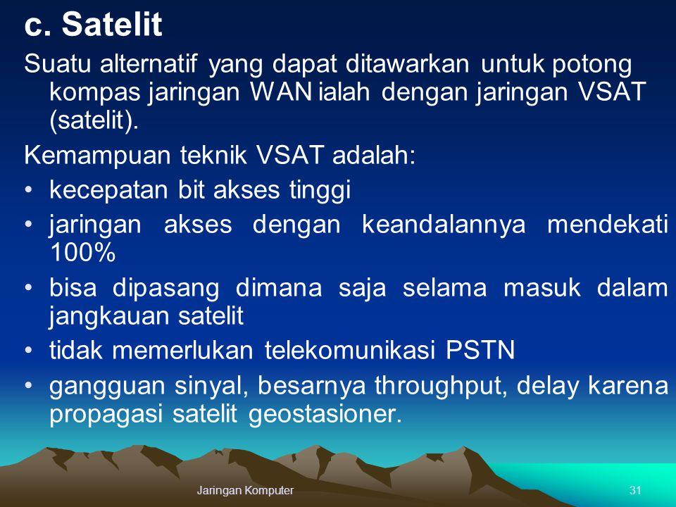 c. Satelit Suatu alternatif yang dapat ditawarkan untuk potong kompas jaringan WAN ialah dengan jaringan VSAT (satelit).
